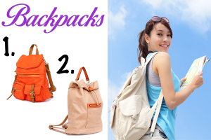 Set of three orange, cream and white backpacks for women.