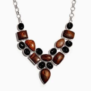 Brown and black statement necklace.