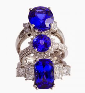 Set of three tanzanite rings.