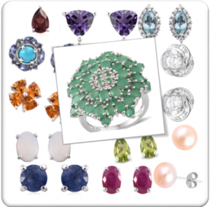 A selection of birthstone jewelry.