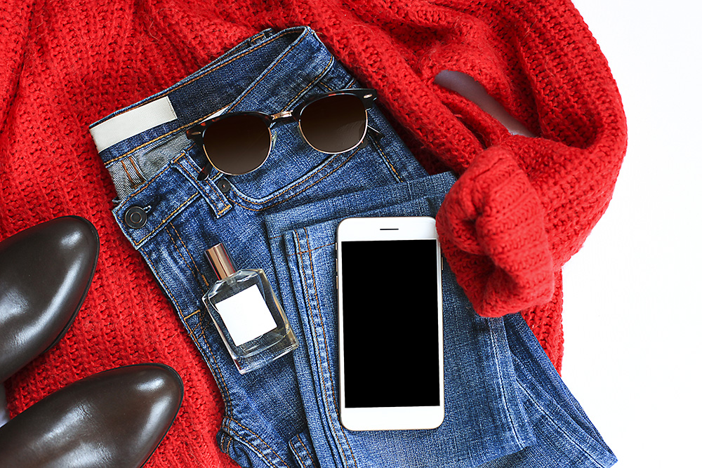 Classic red sweater and jeans outfit