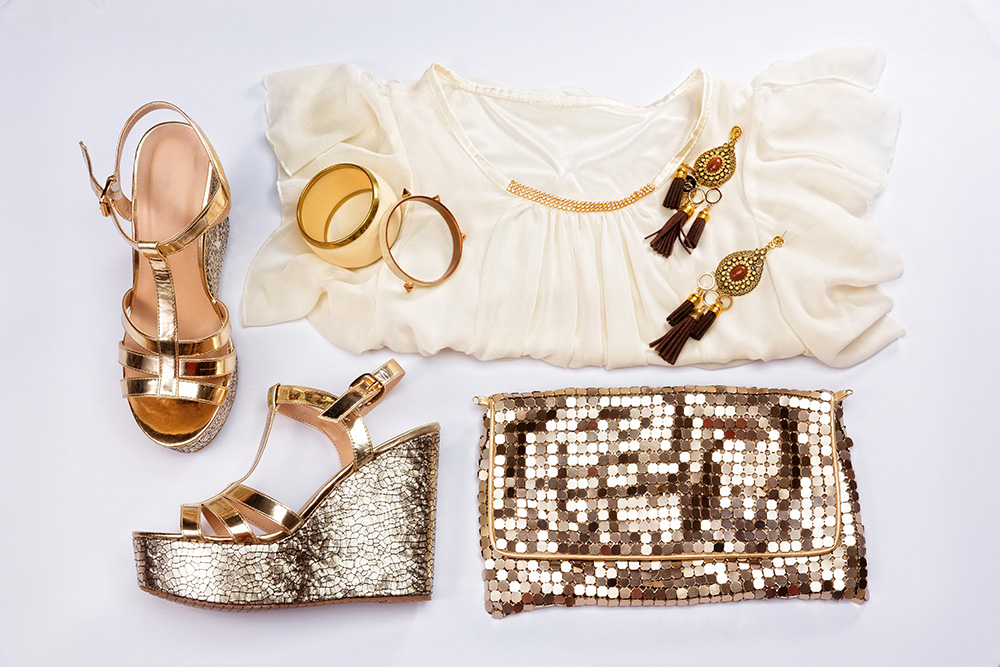 Champagne outfit set with glittery clutch