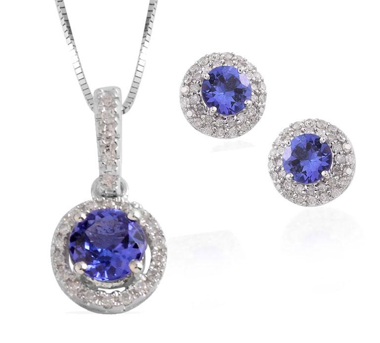 Tanzanite wedding jewelry sets.