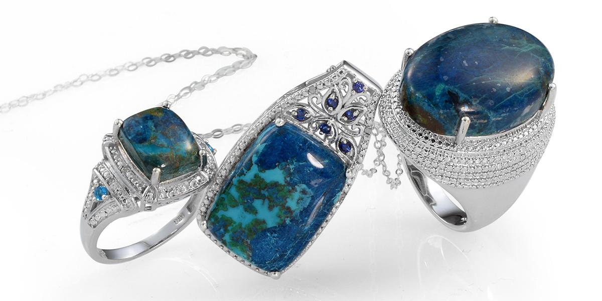 Shadowkite rings and pendant in settings of sterling silver.