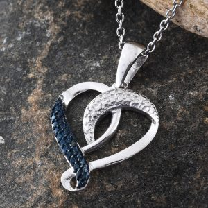 Blue diamond heart-shaped pendant in sterling silver.
