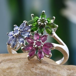 Multi-gem floral cluster ring in sterling silver.