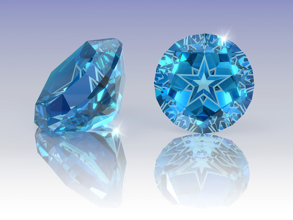 Blue topaz with Lone Star cut against blue to white gradient background.