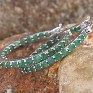 emerald inside-out hoop earrings
