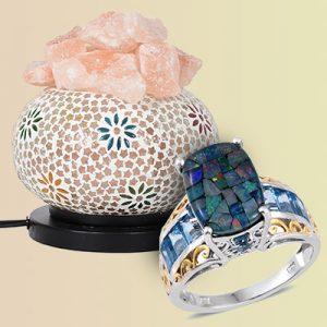 A mosaic ring and mosaic lamp.