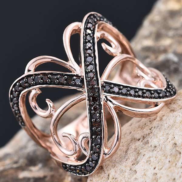 Red Diamond Rose Gold Ring