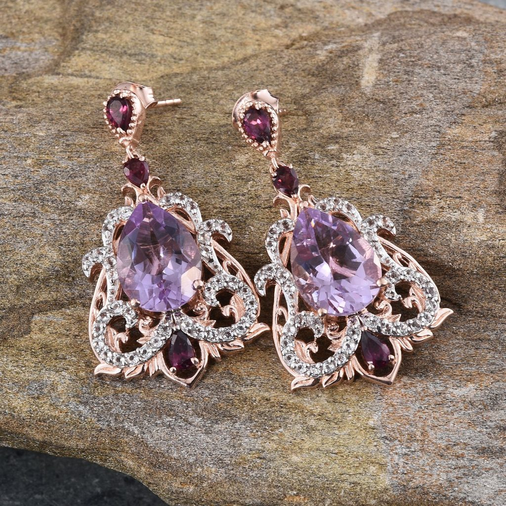 Rose de France rose gold dangle earrings.