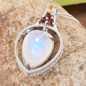 Moonstone and garnet pendant in sterling silver.