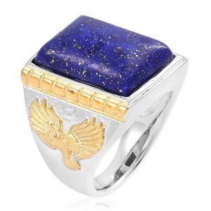 Lapis lazuli ring with yellow gold ion plated accents.