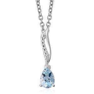 Sky blue topaz pear-shape pendant.