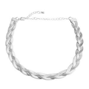Braided herringbone-style choker necklace.