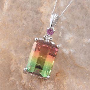 Rainbow quartz pendant in sterling silver.