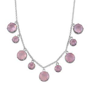 Rose quartz statement necklace.