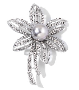 Silver Floral Brooch with Pearl Center
