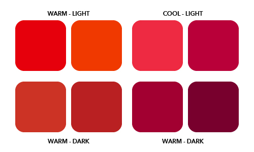 Warm and cool tones color diagram.