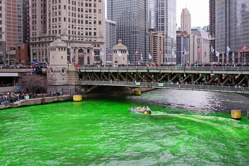 Chicago River dyed green for St. Patrick's Day.