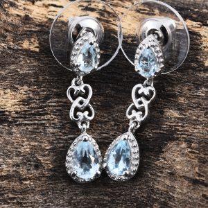 Sky blue topaz drop earrings in sterling silver.