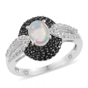Edwardian-style opal ring with black gemstone accents