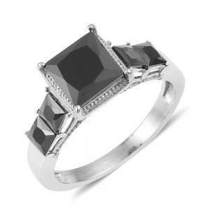 Victorian-style black gemstone ring.