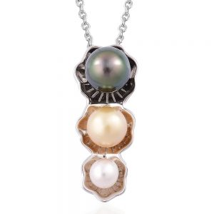 Pearl Necklace with 3 Stacked Pearls