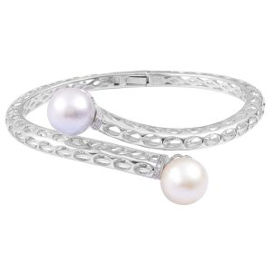 Chunky Metal Bracelet with 2 pearls