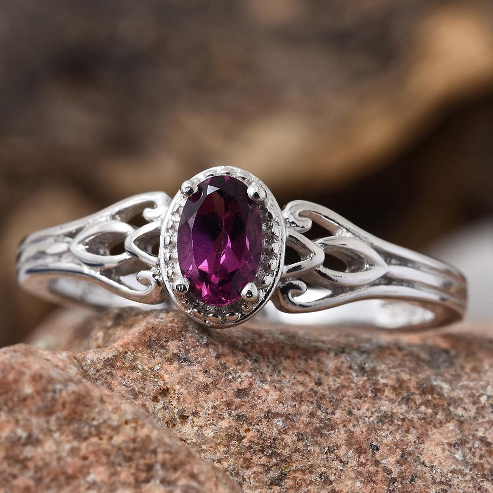 Purple garnet ring in sterling silver.