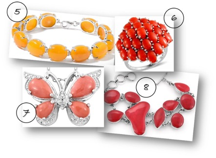 Yellow jade bracelet, coral cluster ring, peach opal butterfly pendant, coral bracelet.