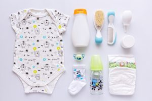 Assortment of essential baby items.