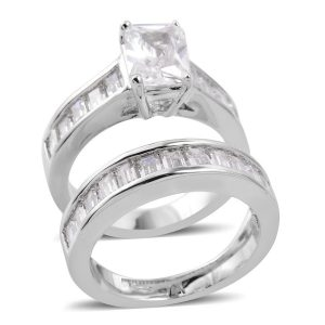 Cubic zirconia wedding ring set.