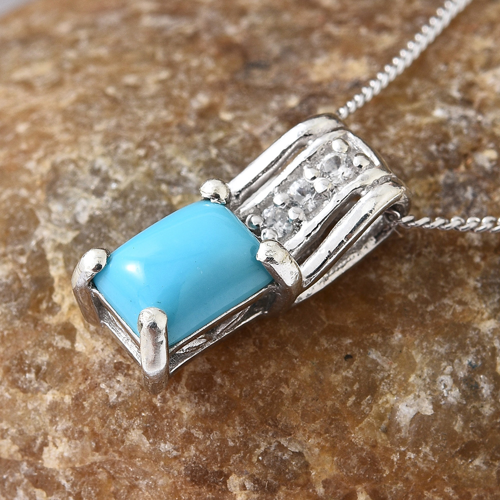 Turquoise pendant in sterling silver.