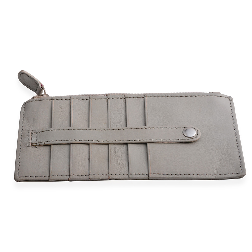 Gray leather cardholder wallet.