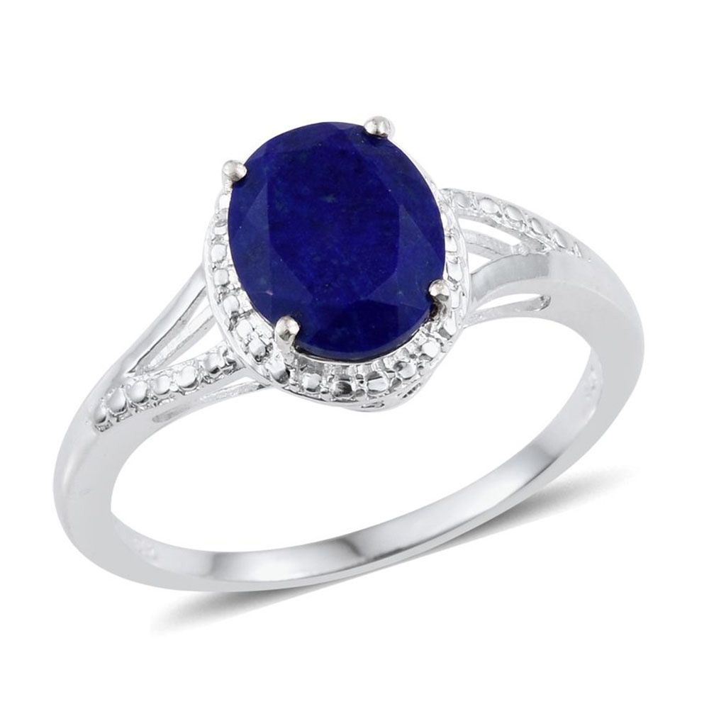 Example of placeholder ring with blue lapis lazuli against white background.