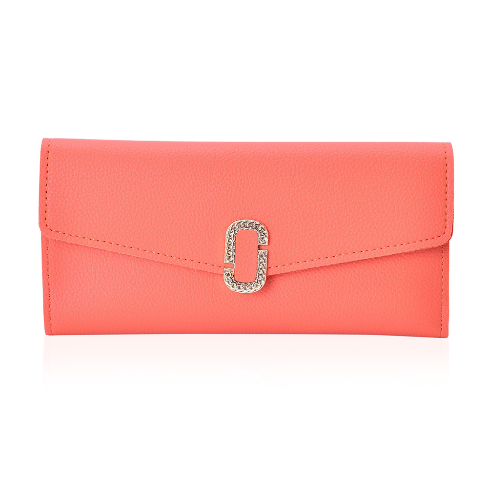 Coral long wallet against white background.