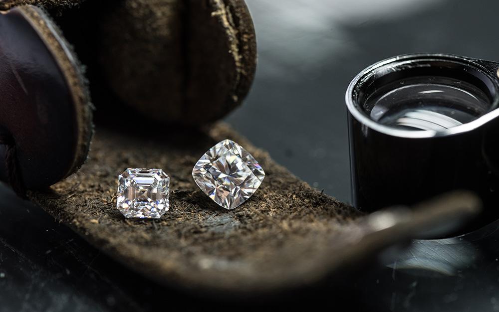 Diamond on leather sheet.