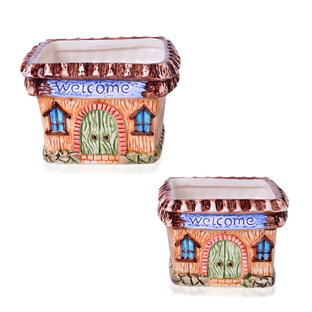 House-themed garden pots against white background.