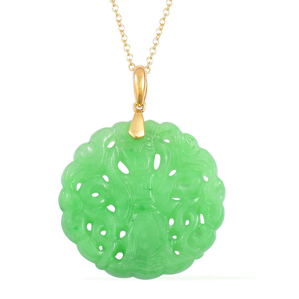 Jade necklace with gold chain against white background
