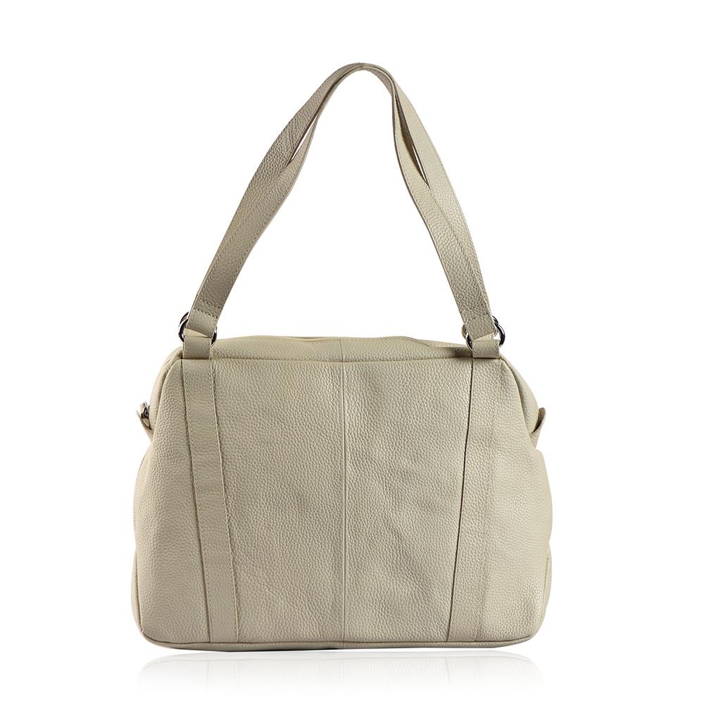 Closeup of gray handbag against white background