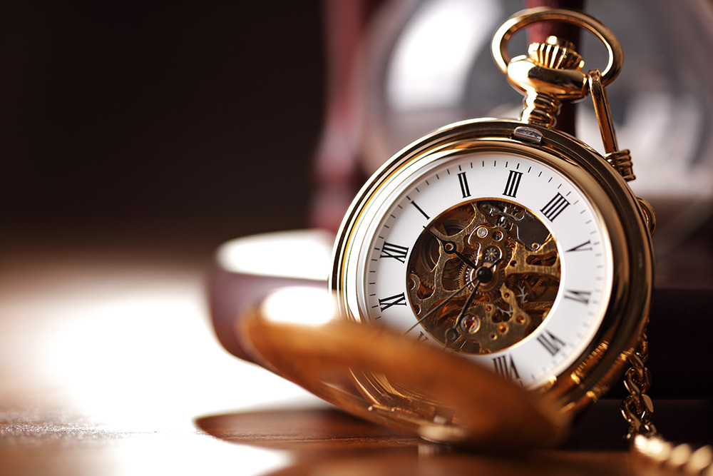 Closeup of golden pocket watch