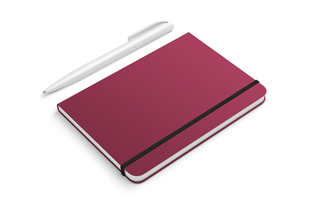 Closeup of plum notebook with white pen against white background