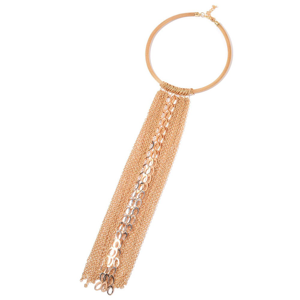 Closeup of rose gold necklace with extreme tassels against white background