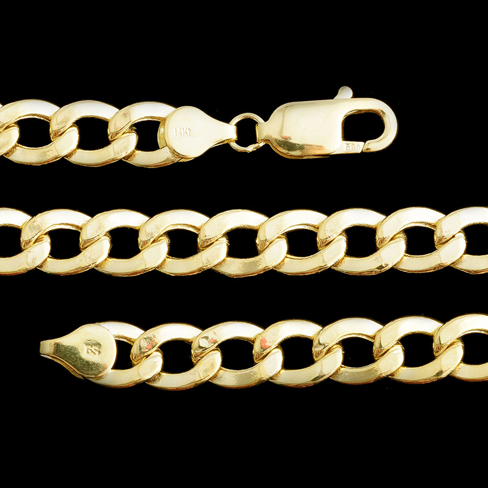 Closeup of gold chains against black background