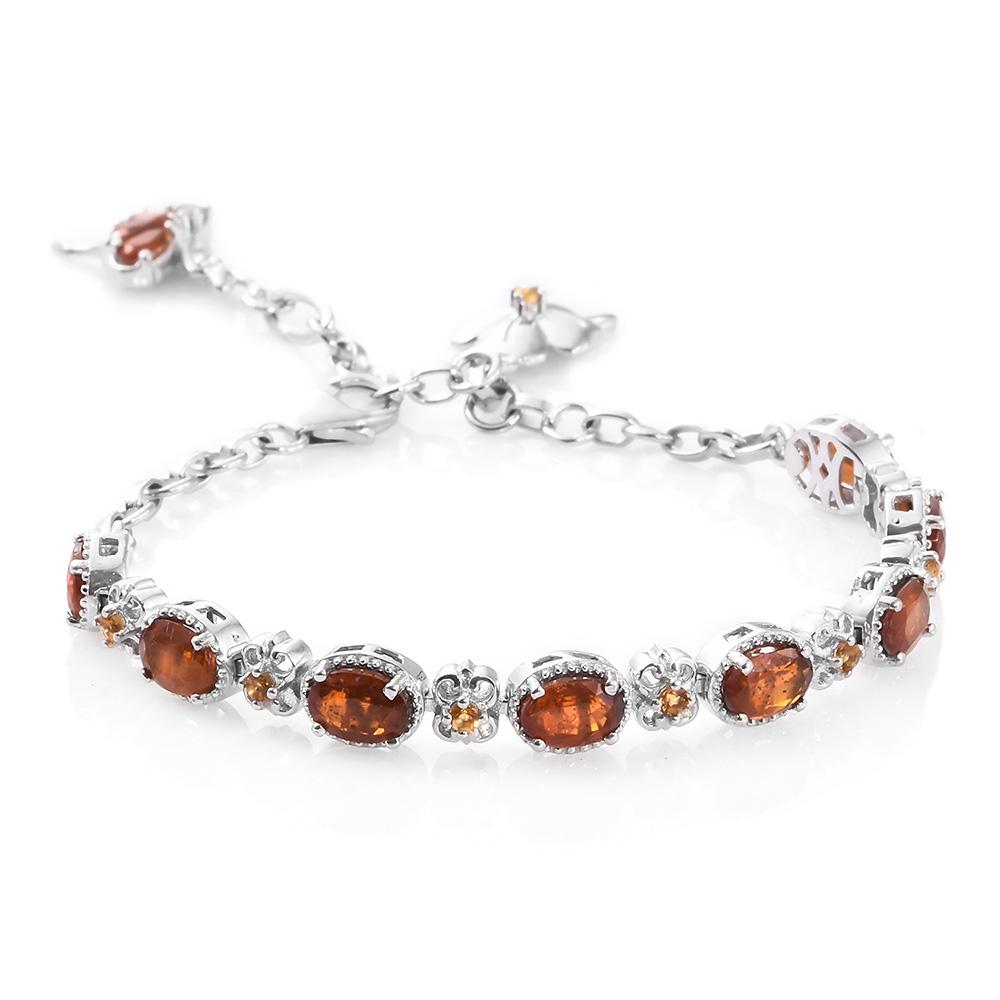 Closeup of orange kyanite necklace