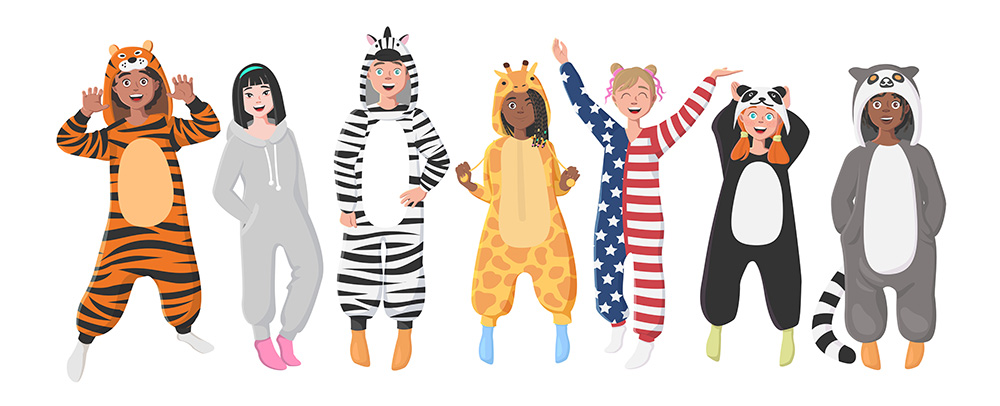 A drawing of a diverse group of people dressing up in animal onesies