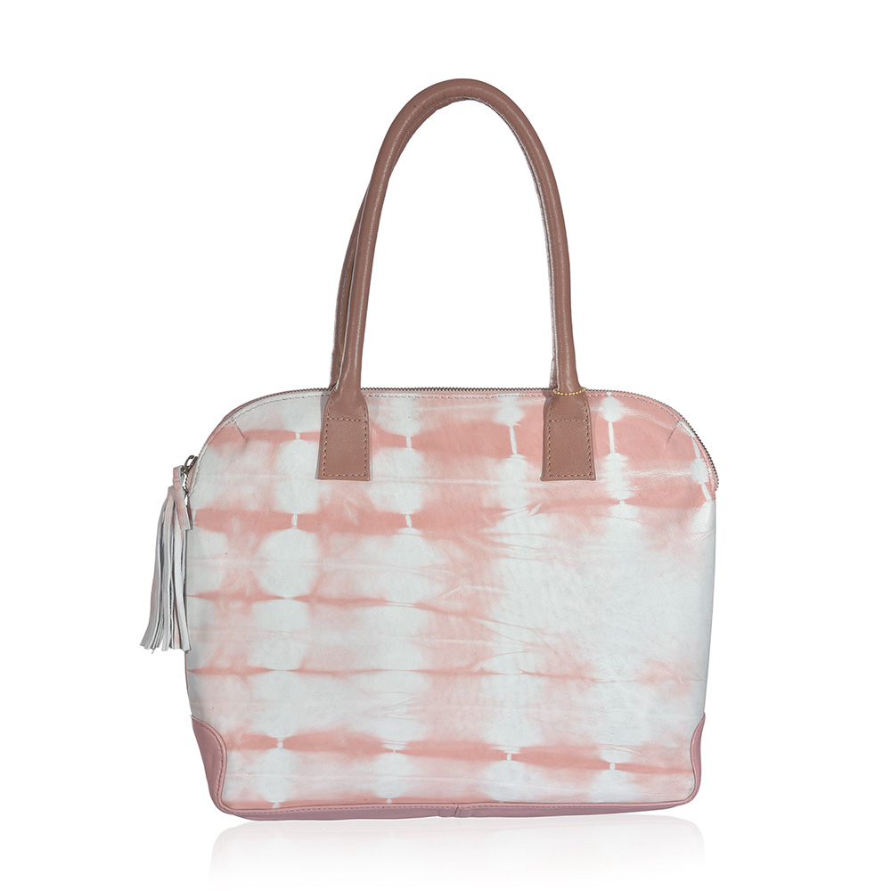 Pink Tie-Dye Bag against White Background