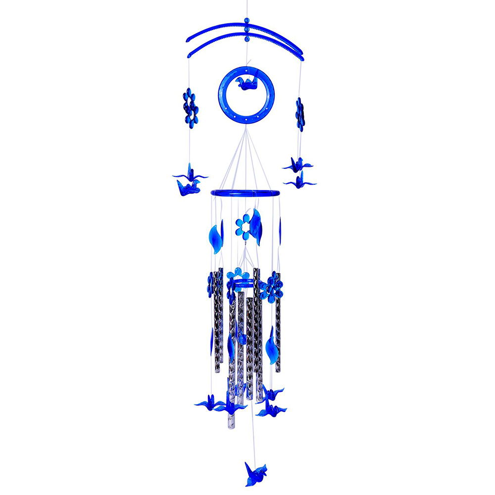 Blue windchimes against white background