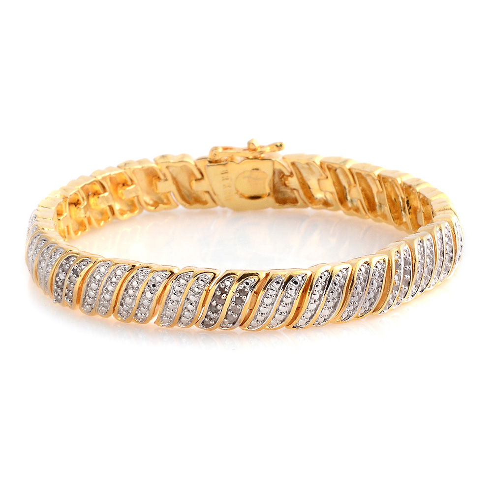 Diamond bracelet with gold setting